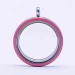 30mm Pink Enamel Twist Stainless Steel Floating Locket